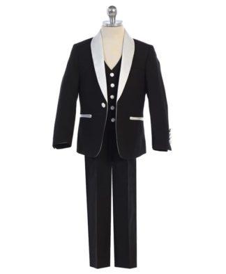 Boys Black Tails Tuxedo Ring Bearer 6 month- Boys 20