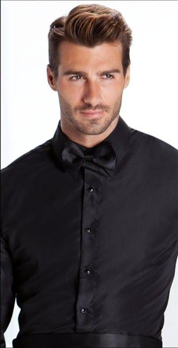 Tuxedo Shirt Non Pleated Dress Shirt LAYDOWN Collar Takes Studs Cufflinks
