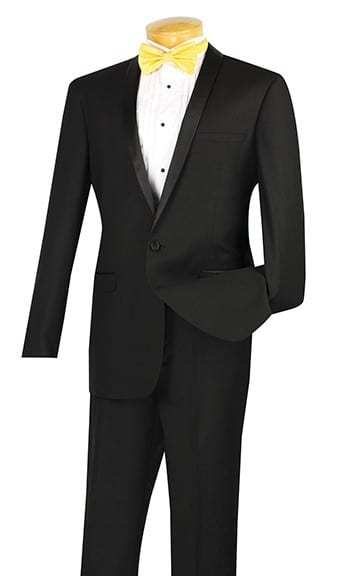 Mens Black Narrow Shawl Lapel Slim Fit Tuxedo