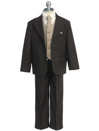 Boys Tan pin striped Suit 5 Piece- Closeout- Clearance Limited Inventory