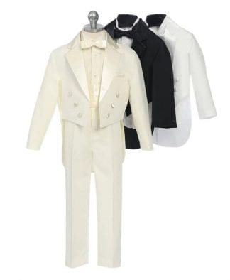 Boys White Tails Ring Bearer Tuxedo Sizes 6mon- 20 Boys