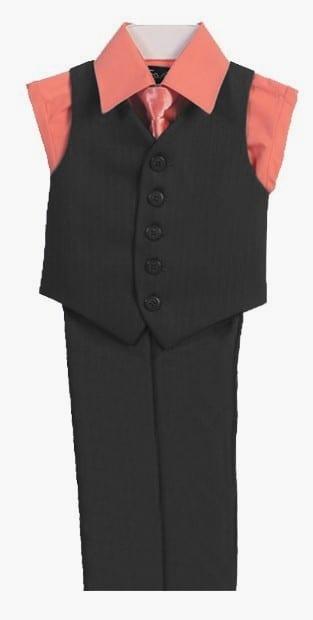 Boys Vest Set 4 Piece Coral Shirt