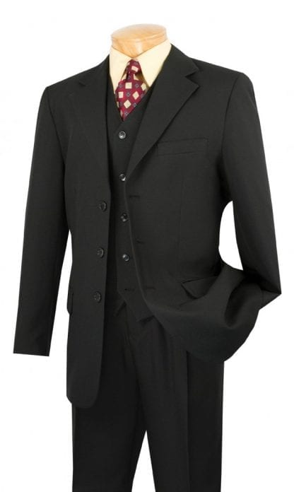 Budget Collection Three-Piece Single-Breasted Suit Black
