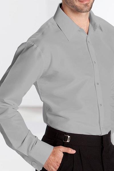 Pearl Grey Microfiber Fitted Dress Shirt Laydown Collar