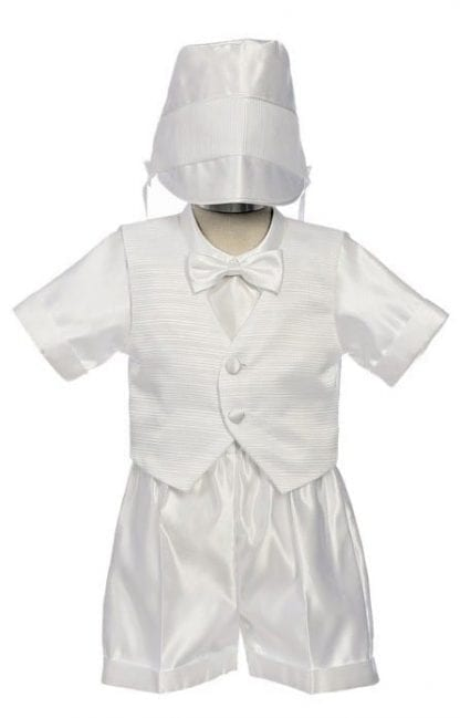Infant Baby White Baptism Christening Short Outfit