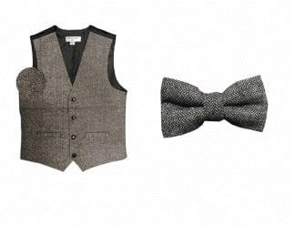 Mens Brown Rustic Slim Fit Wool Tweed Vest with inner pocket Brown