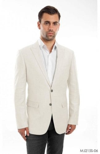 Mens Orange Linen Sports Coat Peak Lapel- Coat Only