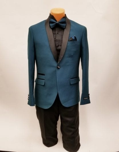 Teal with Black Shawl Lapel One Button Tuxedo- Prom 2019 – Wedding