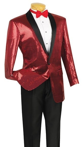 Sequin Sport Coat Dinner Jacket Shawl Lapel- Blazer Black Gold and Red