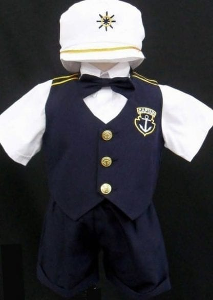 Sailor Suit Nautical Shorts and Short Sleeve with Vest and Short Set