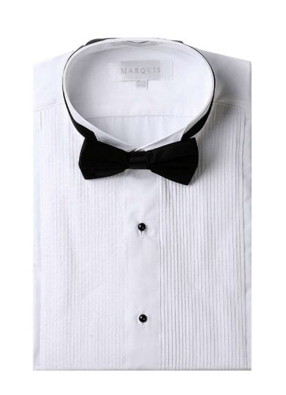 Tuxedo Shirt Men's White Slim Fit Wingtip Collar with Black Bow Tie Studs Convertible French Cuff