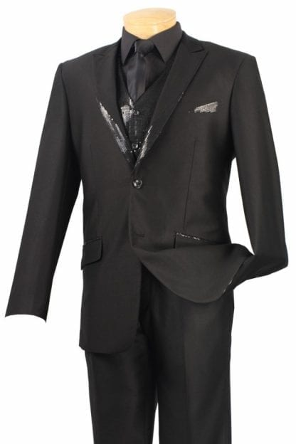 Two Button Tuxedo with Trimmed Sequins Three Piece Set
