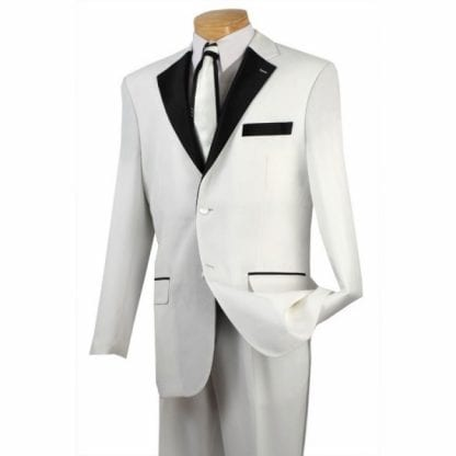 White and Black Two Button Fashion Tuxedo for Prom and Wedding