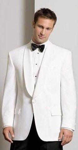 New Mens White Tuxedo Dinner Jacket Formal Wedding Black Lapel Pant Set Prom Tux