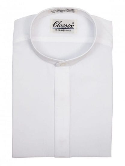 WHITE Mens Banded Collar Dress Shirt NON PLEATED Sale