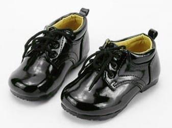 Baby Infant Boys Black Lace Up Shinny Tuxedo Shoes