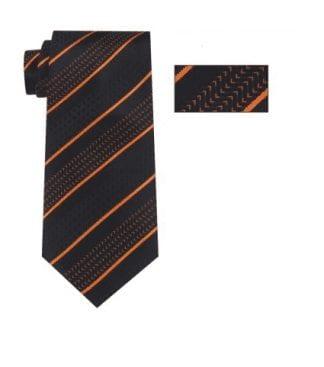 Mens Orange ,Black and White Striped Skinny Necktie