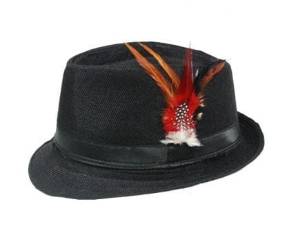 Black Banded BLACK Jazz Fedora Hat with Feather