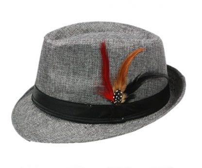 Black Banded GRAY Fedora Hat with Feather