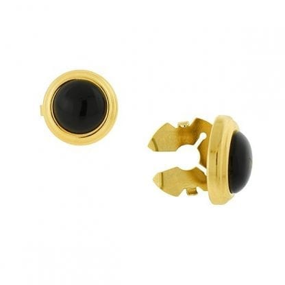 Black Shirt Cuff Button Covers Set of Two in Gold Faux Cuff links