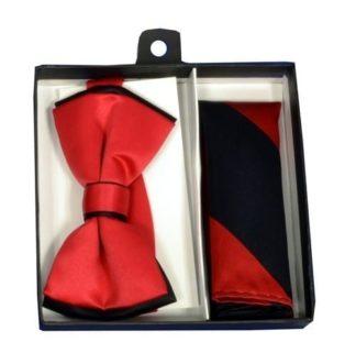 Mens Royal Blue 5 Piece Gift Box Set Tie Bow-Tie Lapel Pin Handkerchief and Cufflinks