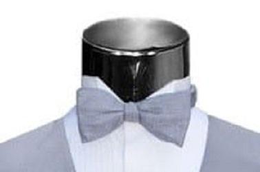 Silver Bow Tie Silk Pique