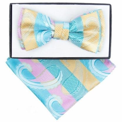 Boys Aqua And Yellow Paisley Pattern Bowtie and pocket square