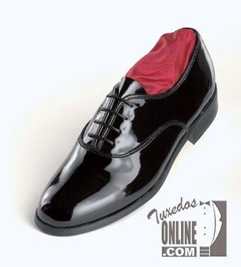 BOYS Classic BLACK Patent Leather Lace Up Tuxedo Shoes