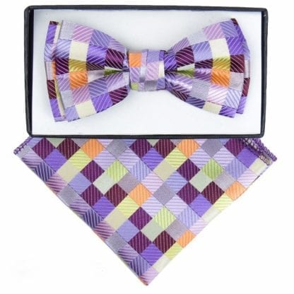 Boys Light Purple Checkered Pattern Bowtie and pocket square