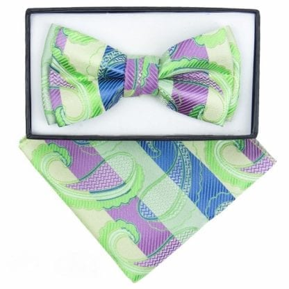 Boys Lime Paisley Pattern Bowtie and pocket square