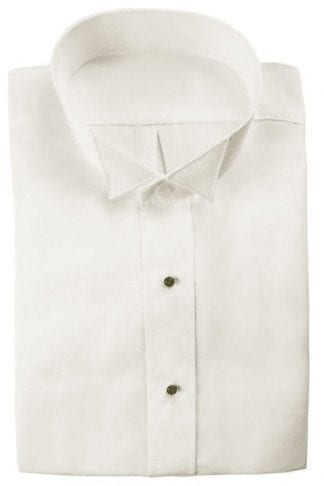 BOYS White Tuxedo Shirt WING Tip Collar Plain front- Non pleated -No chest pocket