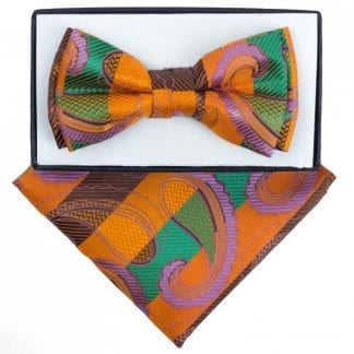 Boys Grey and Red Paisley Pattern Bowtie and pocket square