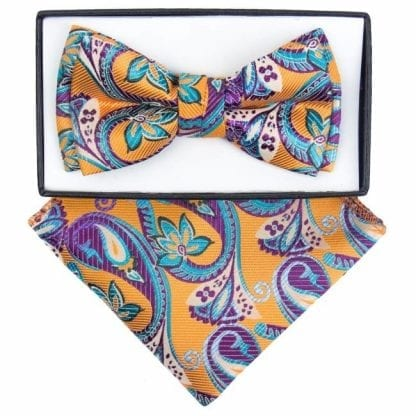 Boys Purple and Yellow Paisley Pattern Bowtie and pocket square