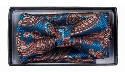 Boys Royal Blue And Red With Paisley Pattern Bowtie and pocket square