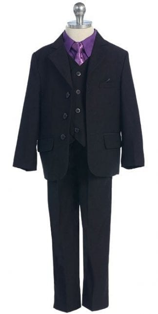 Boys Suit BLACK Baby Toddler Children Teen Suit Any Color Tie
