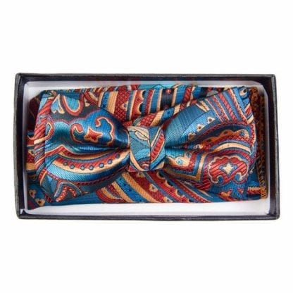 Boys Turquoise Paisley Pattern Bowtie and pocket square