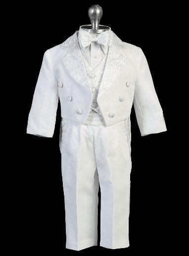 Boys White tails Tuxedo with Paisley Patttern Lapel- Vest- Bowtie