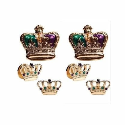 Crown Painted Cufflinks Studs Mardi Gras Gold