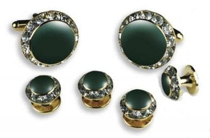 Cufflinks and studs Hunter Green Center with Crystal Edge comes in Gold finish