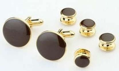 Cufflinks and Studs Set Gold Finish in Many Colors to Match Prom and Brides Maid Dresses