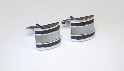 Cufflinks Faux Mother of Pearl Black Silver Cuff Links