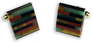 Mosaic Genuine Stone Square Cuff Links