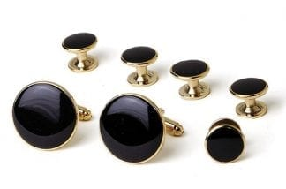 Formal Set Oval Faux Onyx With Crystal Edge Silver