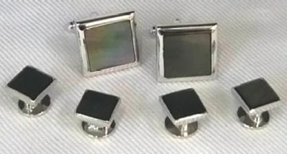 Black Mother Of Pearl Cuff Links Studs