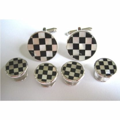 Cufflinks Studs CHECKERS MOTHER OF PEARL ONYX Cuff Links