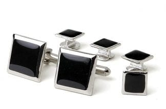 Cufflinks Studs Faux Onyx Square Silver