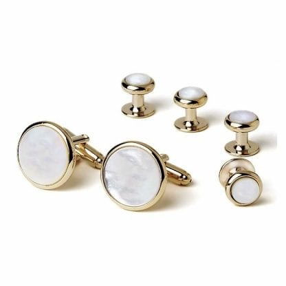 Cufflinks Studs MOTHER of PEARL Cuff Links Gold and Silver Set