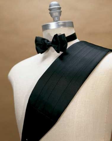 Cummerbunds Bowtie BLACK Silk Cummerbund and Bow Tie Set