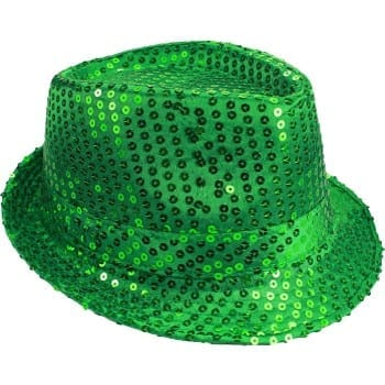 Green Sequin Trilby Hat Adults Fancy Dress Showtime St Patricks Day Costume Acc