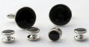 Faux Onyx Studs And Cuff Links